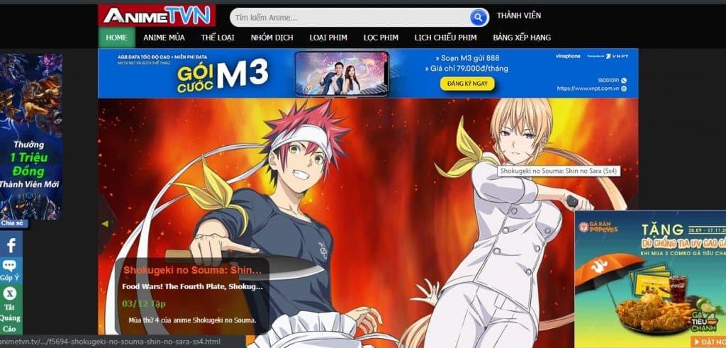 Trang web anime animetvn.tv