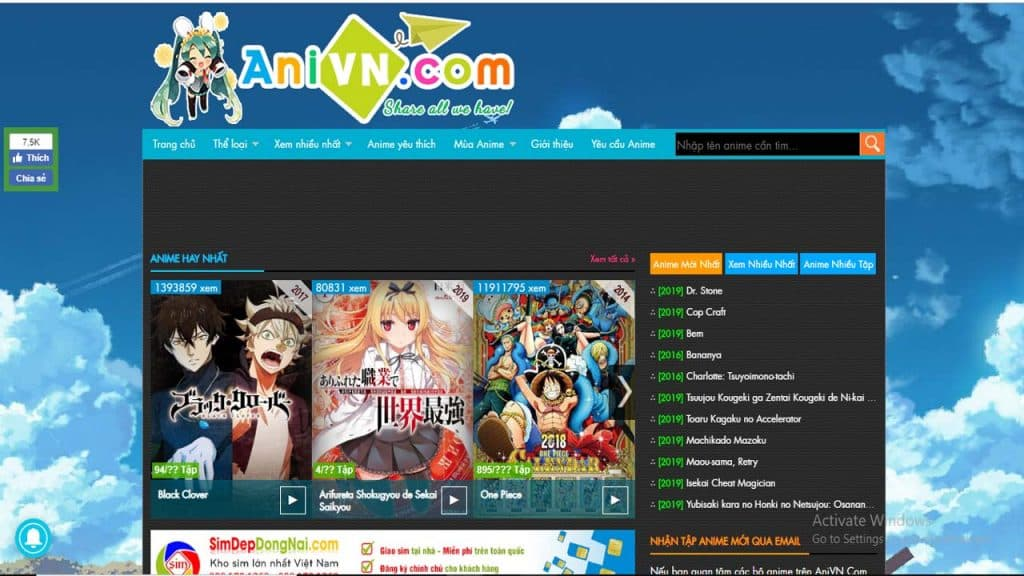 Trang web xem anime Anivn.Com