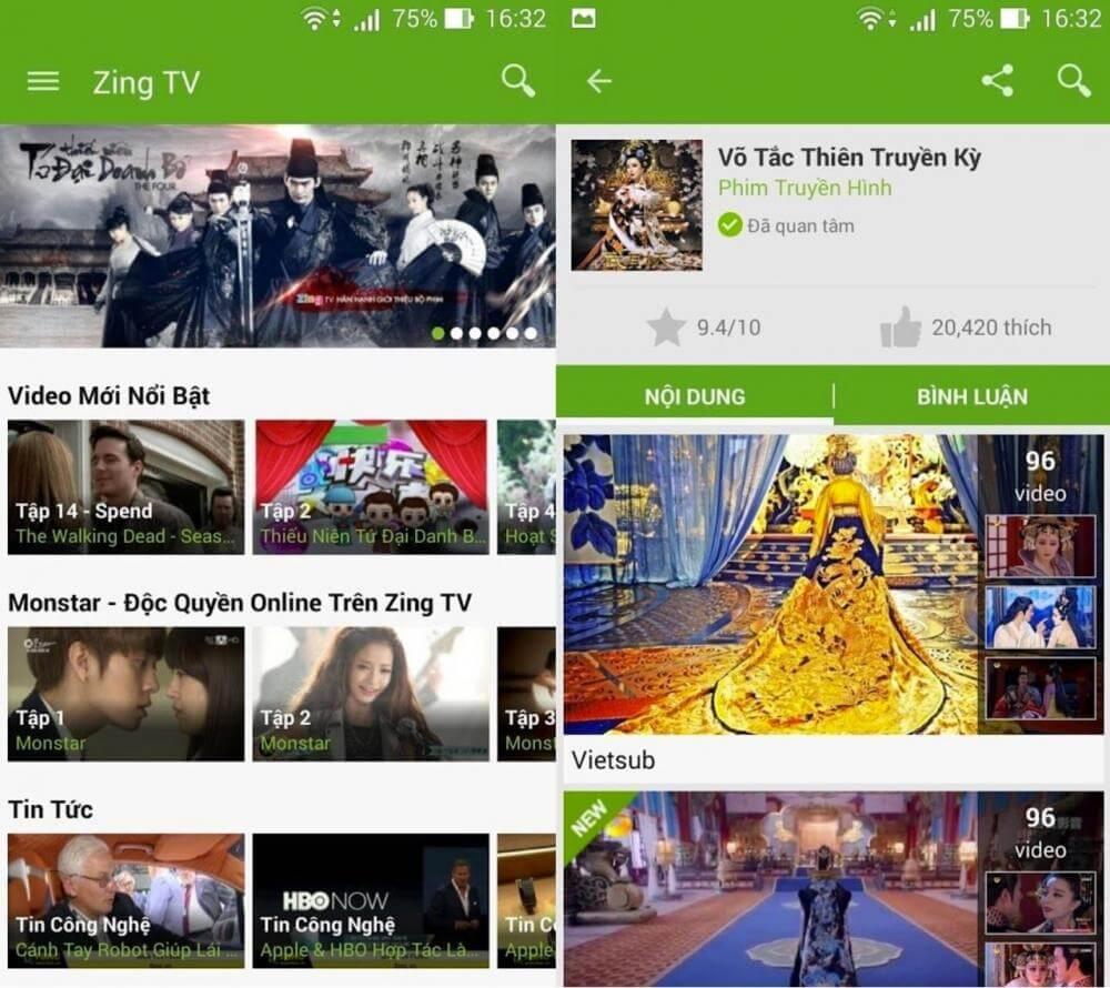 Ứng dụng xem anime Zing TV
