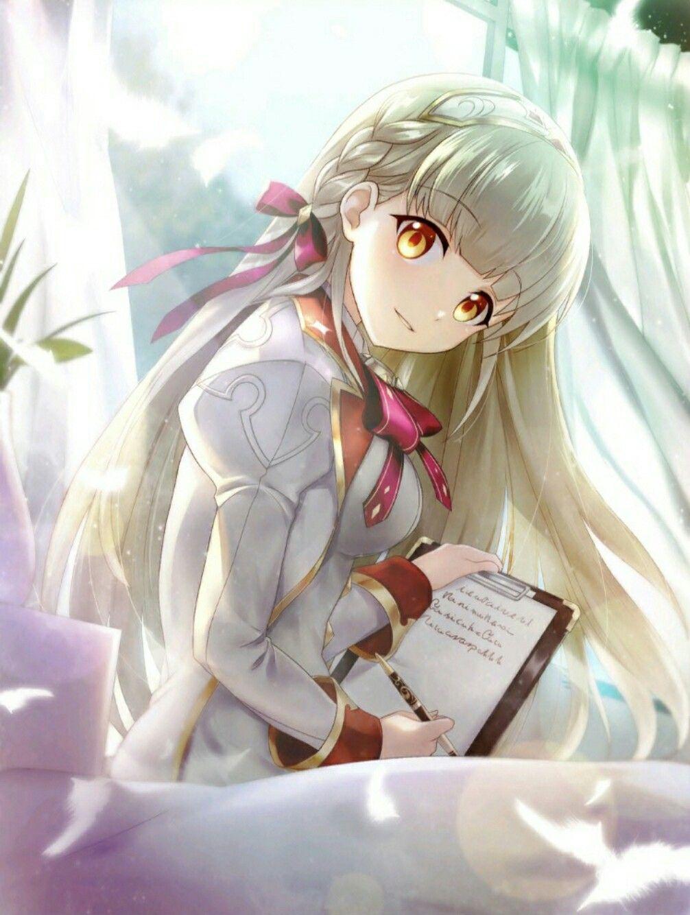 Ảnh Anime girl tóc trắng bạch kim
