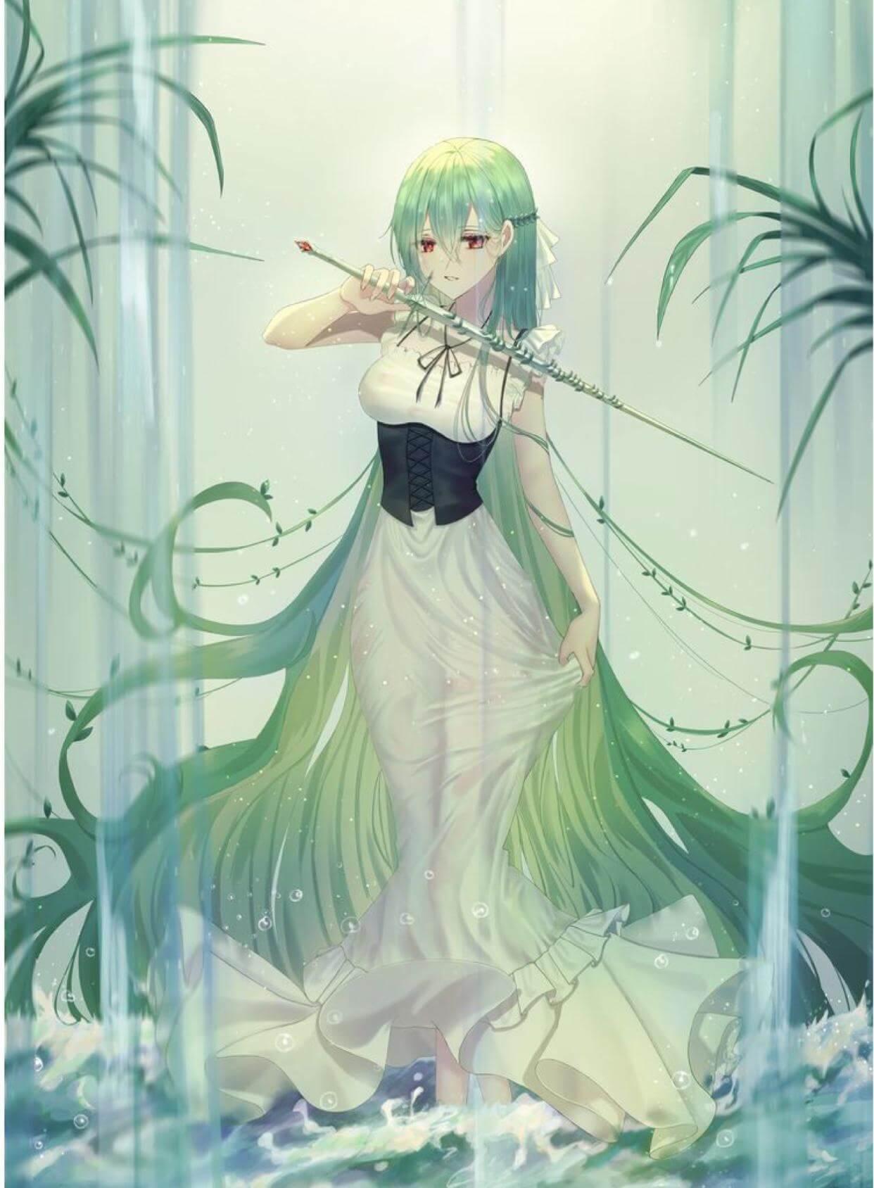 Ảnh Anime girl tóc dài xanh lá