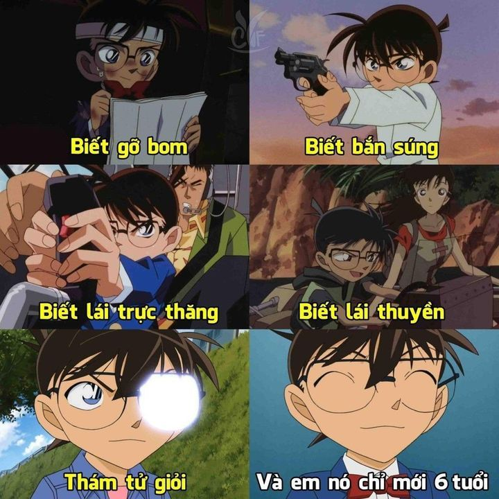 Không gì mà cậu nhóc 6 tuổi này không làm được chính là điểm nhấn hài hước trong bộ anime chế Conan này