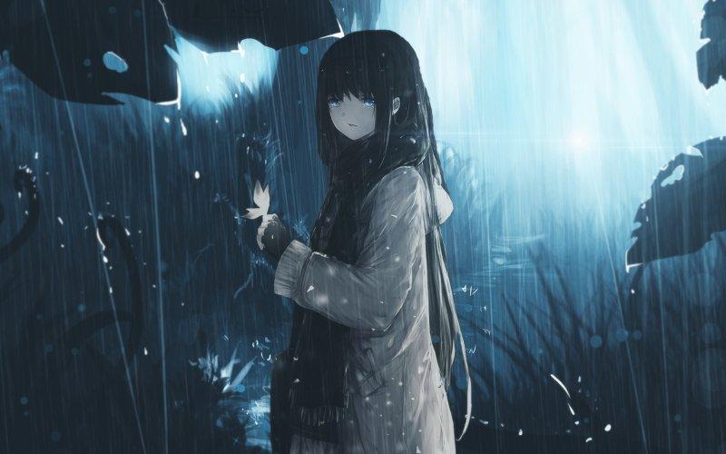 Ảnh 14: Ảnh Anime nữ buồn với những giọt nước mắt hoài lẫn trong màn mưa