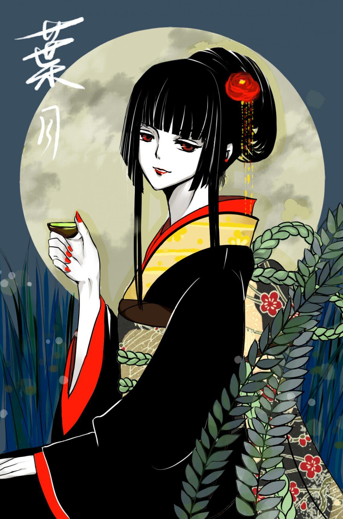 Anime girl tóc đen mắt đỏ Yuuko Ichihara