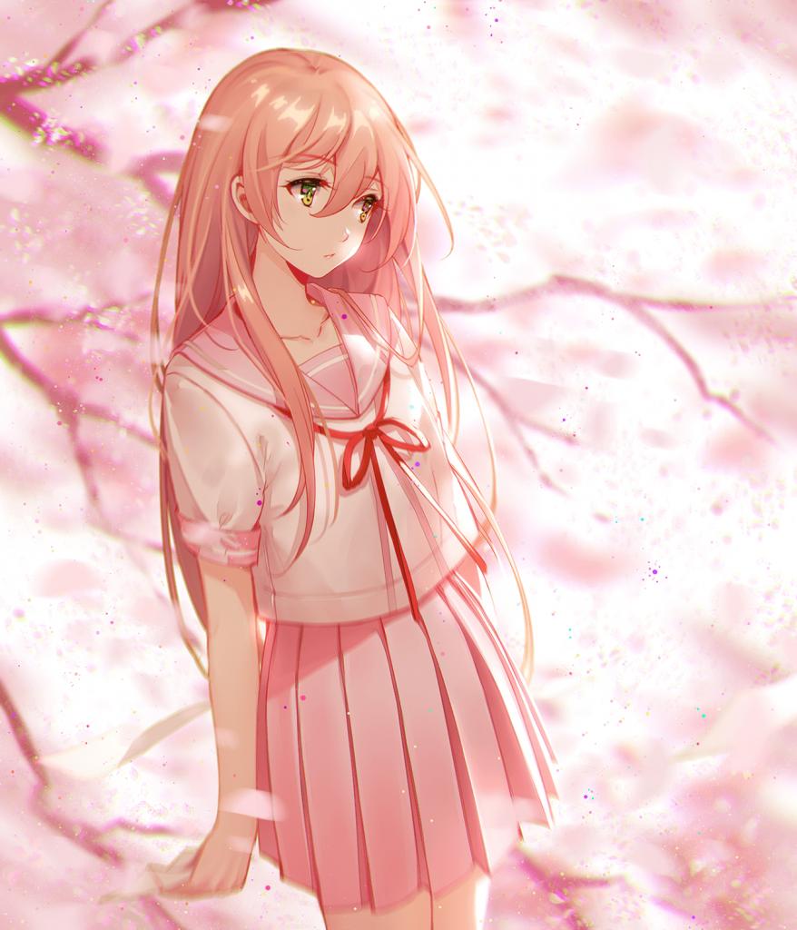 Anime girl tóc hồng buồn