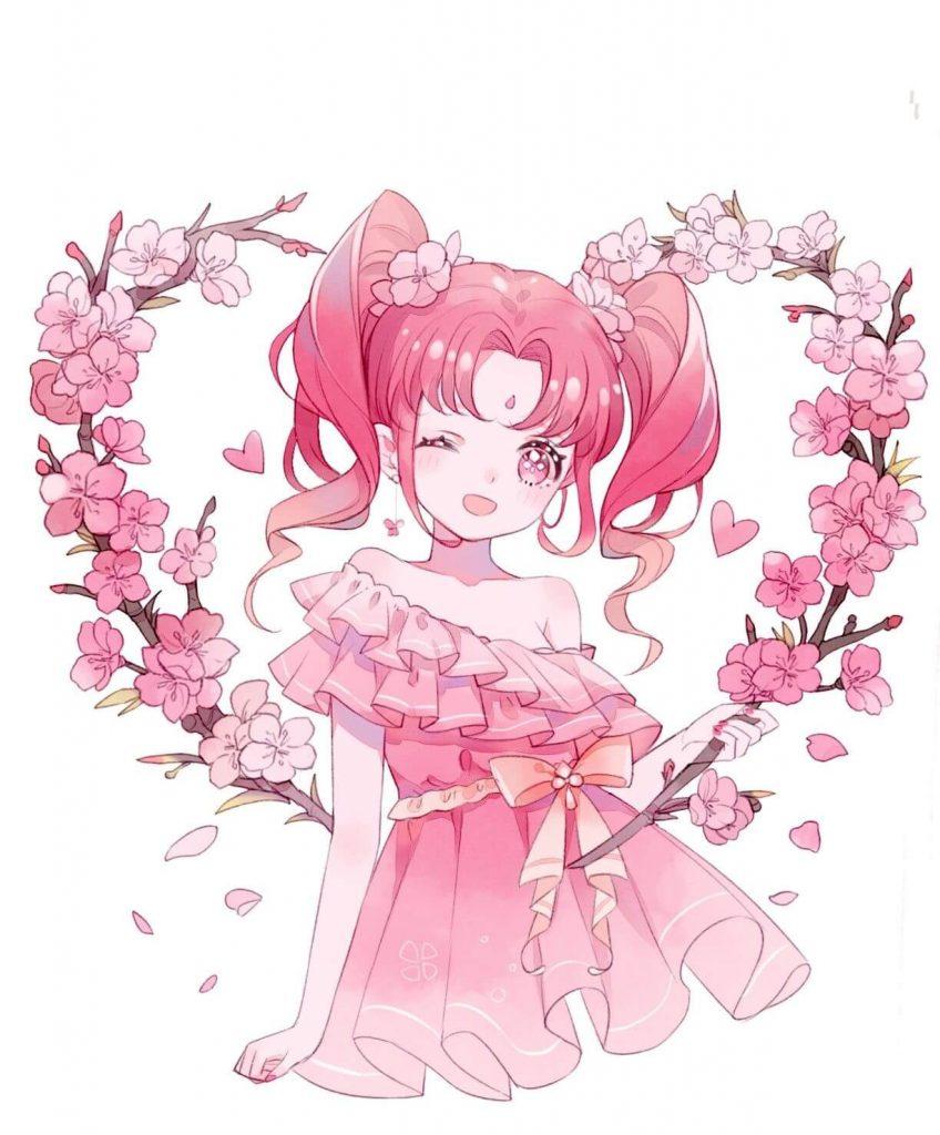 Anime girl tóc hồng cột tóc hai chùm