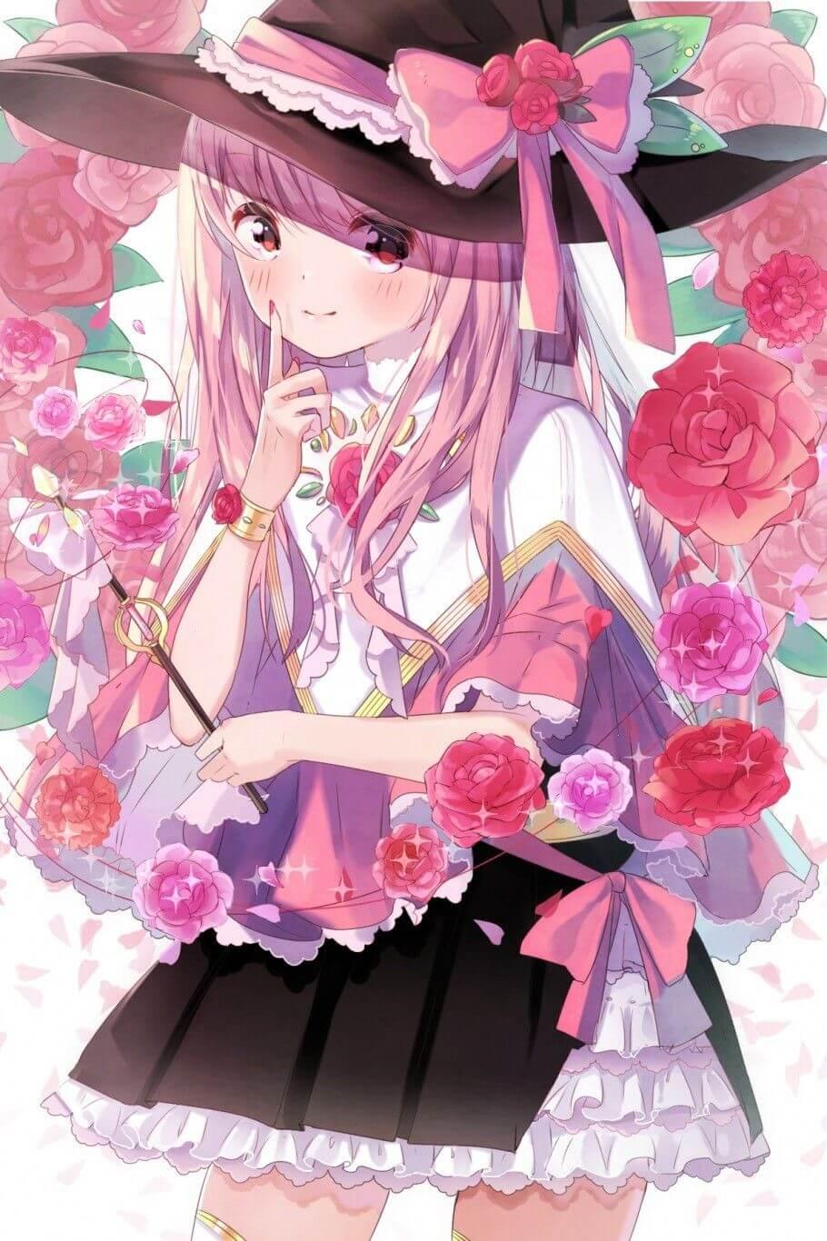 Anime girl tóc hồng đẹp