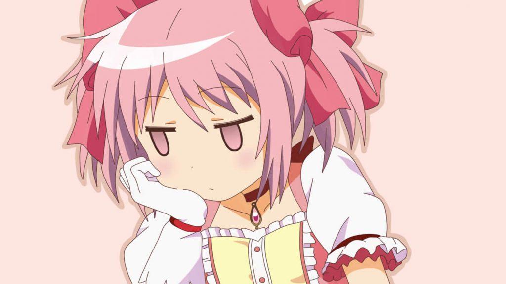 Anime girl tóc hồng Kawaii