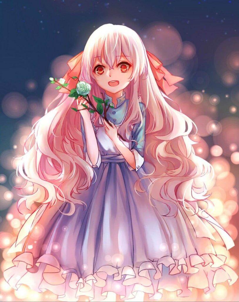 Anime girl tóc hồng xinh tươi