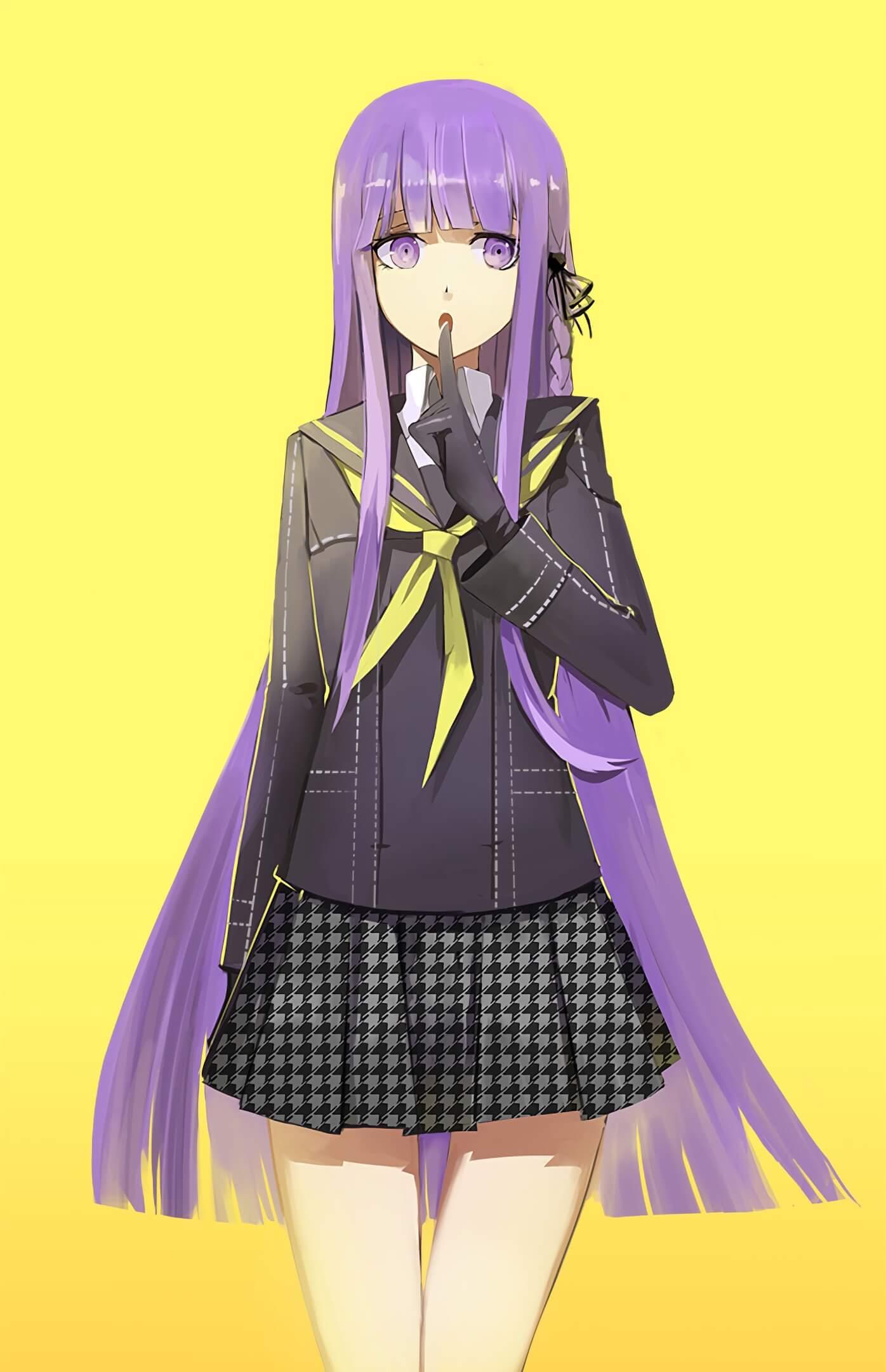 Anime girl tóc tím dài