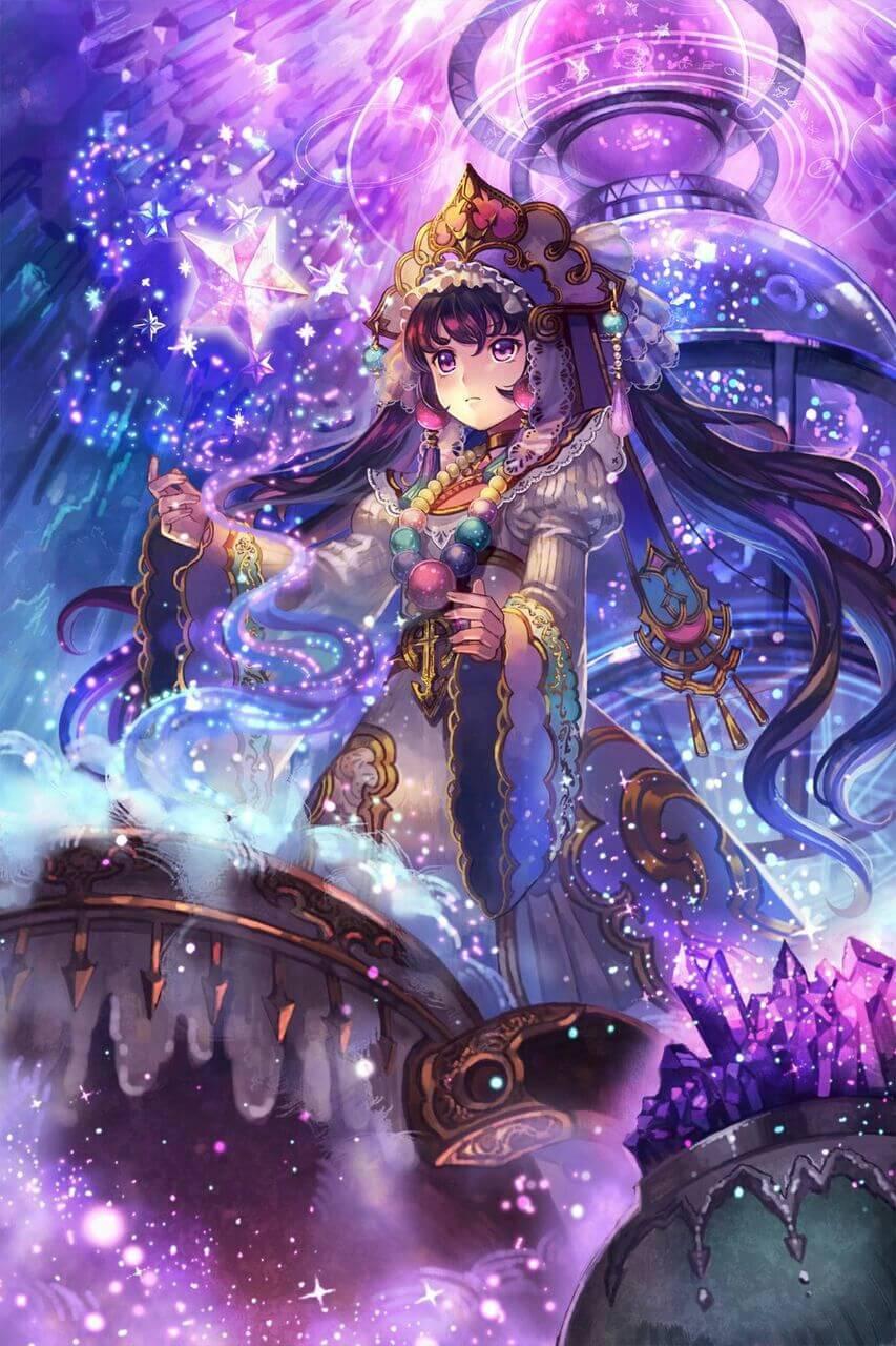 Anime girl tóc tím lạnh lùng