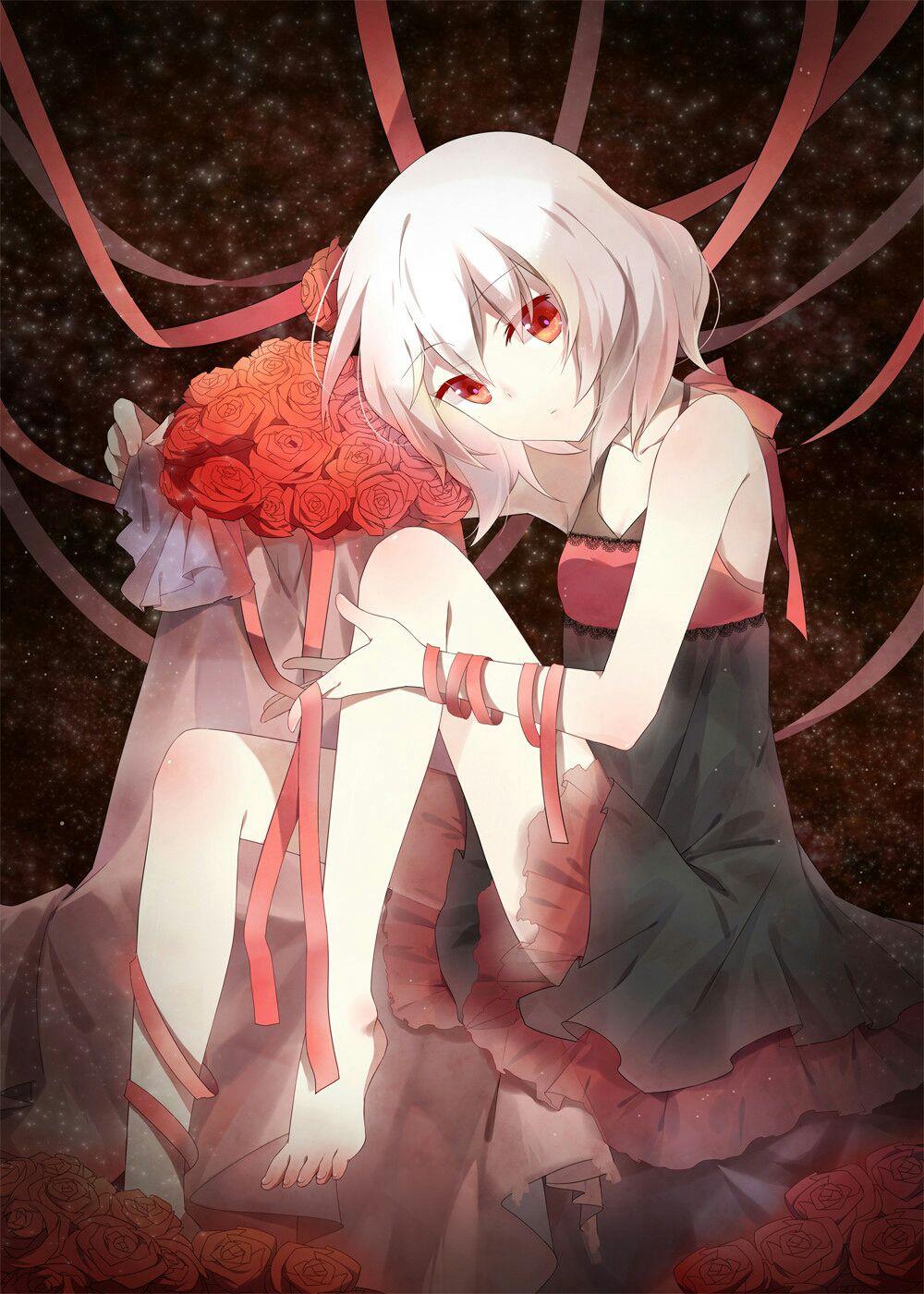 Anime girl tóc trắng mắt đỏ đẹp
