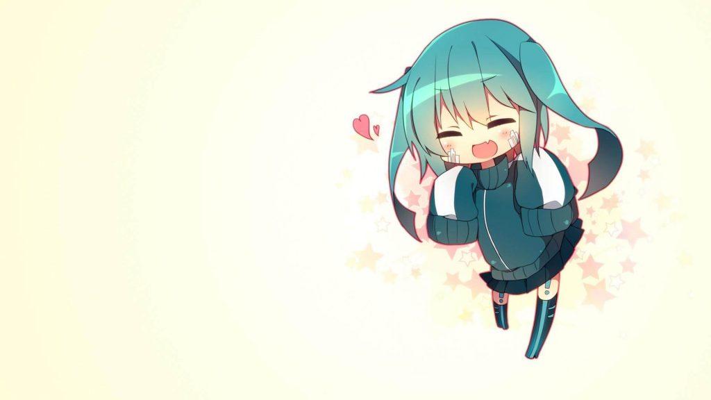 Anime girl tóc xanh chibi