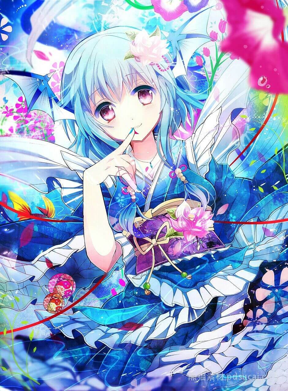 Anime girl tóc xanh dương