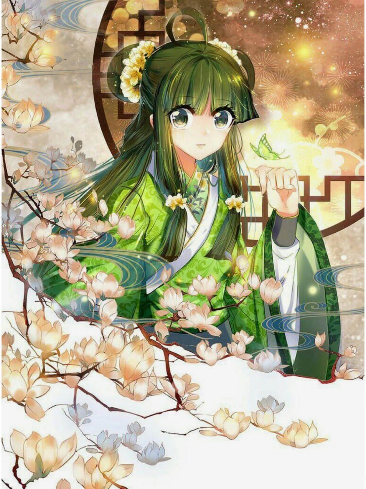 Anime girl tóc xanh lá cổ trang