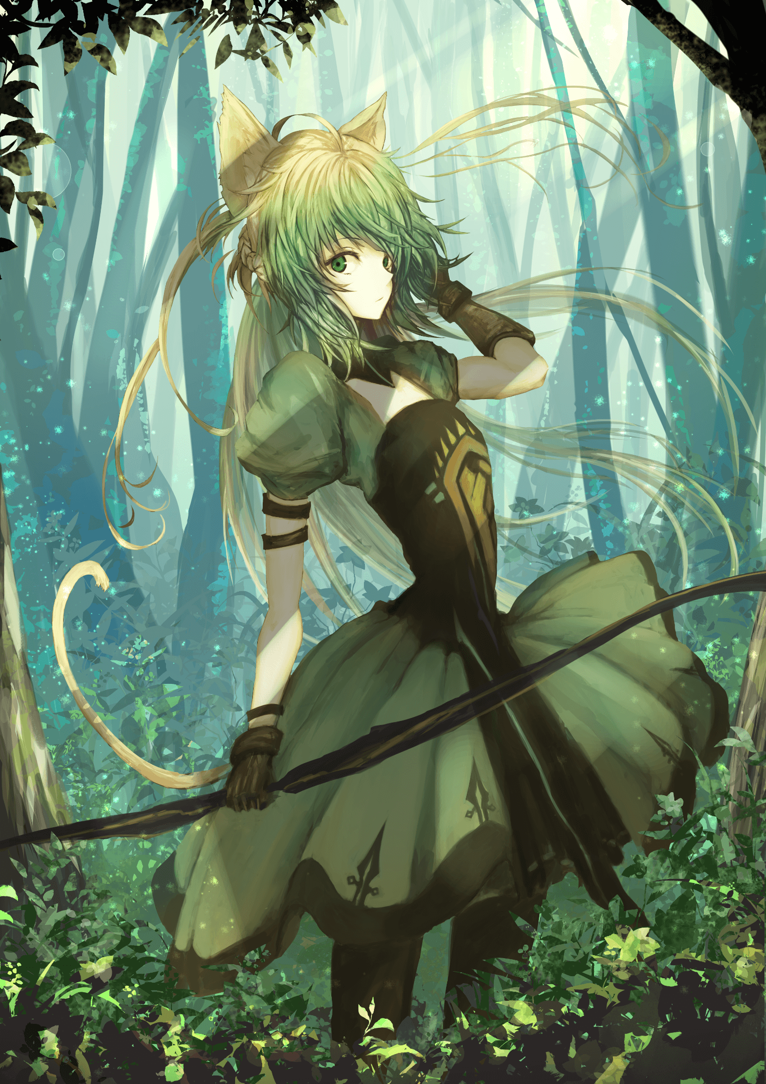 Anime girl tóc xanh lá lạnh lùng