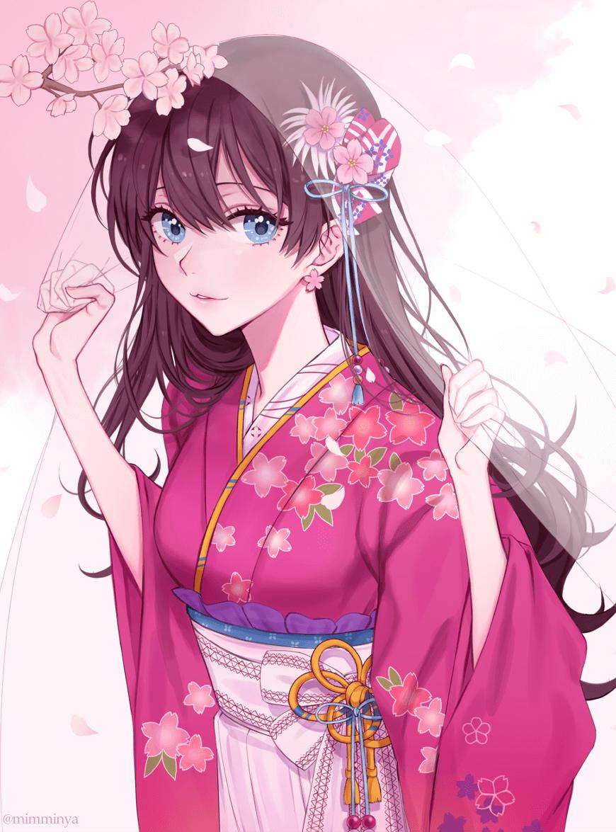 Anime girl tóc xoăn