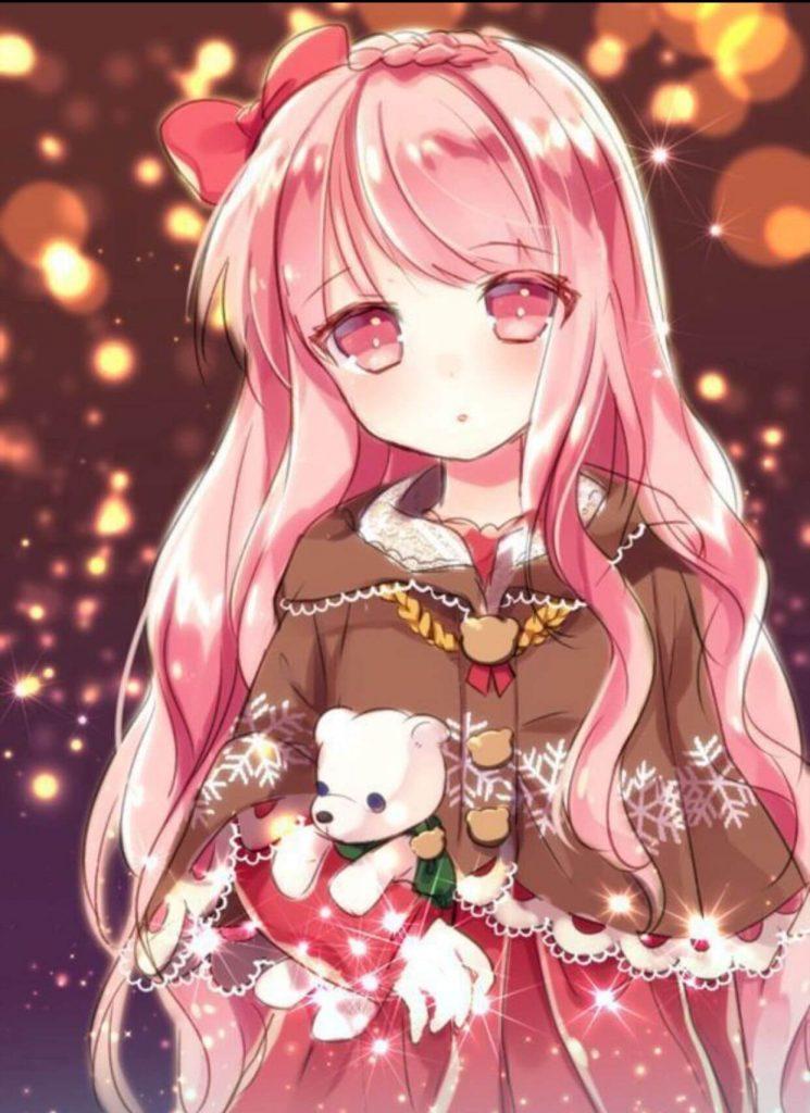 Anime nữ tóc hồng mắt đỏ