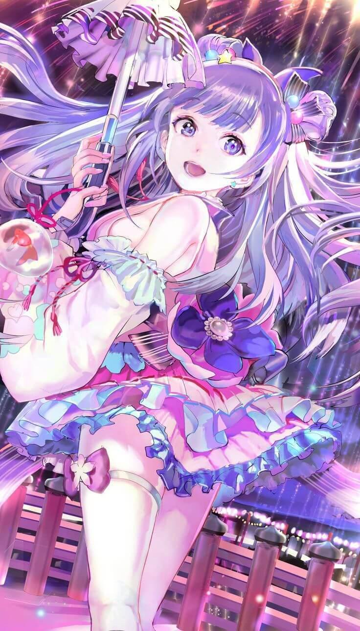 Anime nữ tóc tím cười tươi