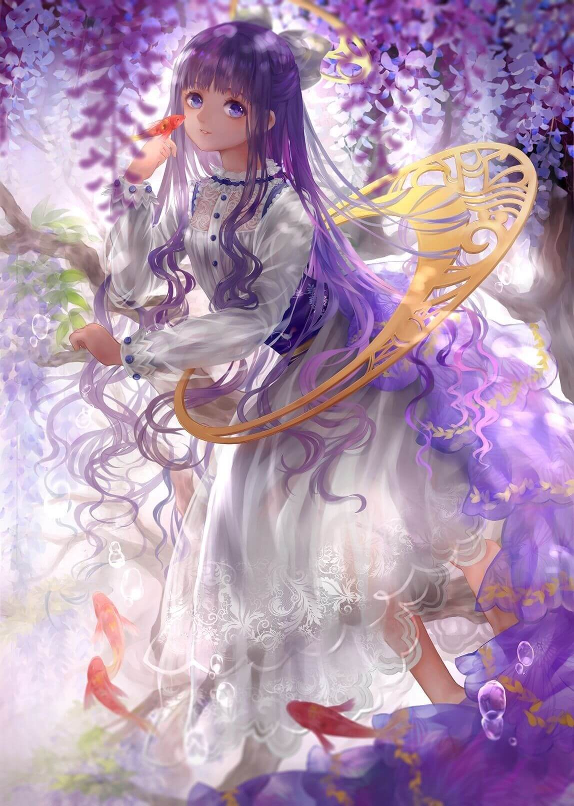 Anime nữ tóc tím dài