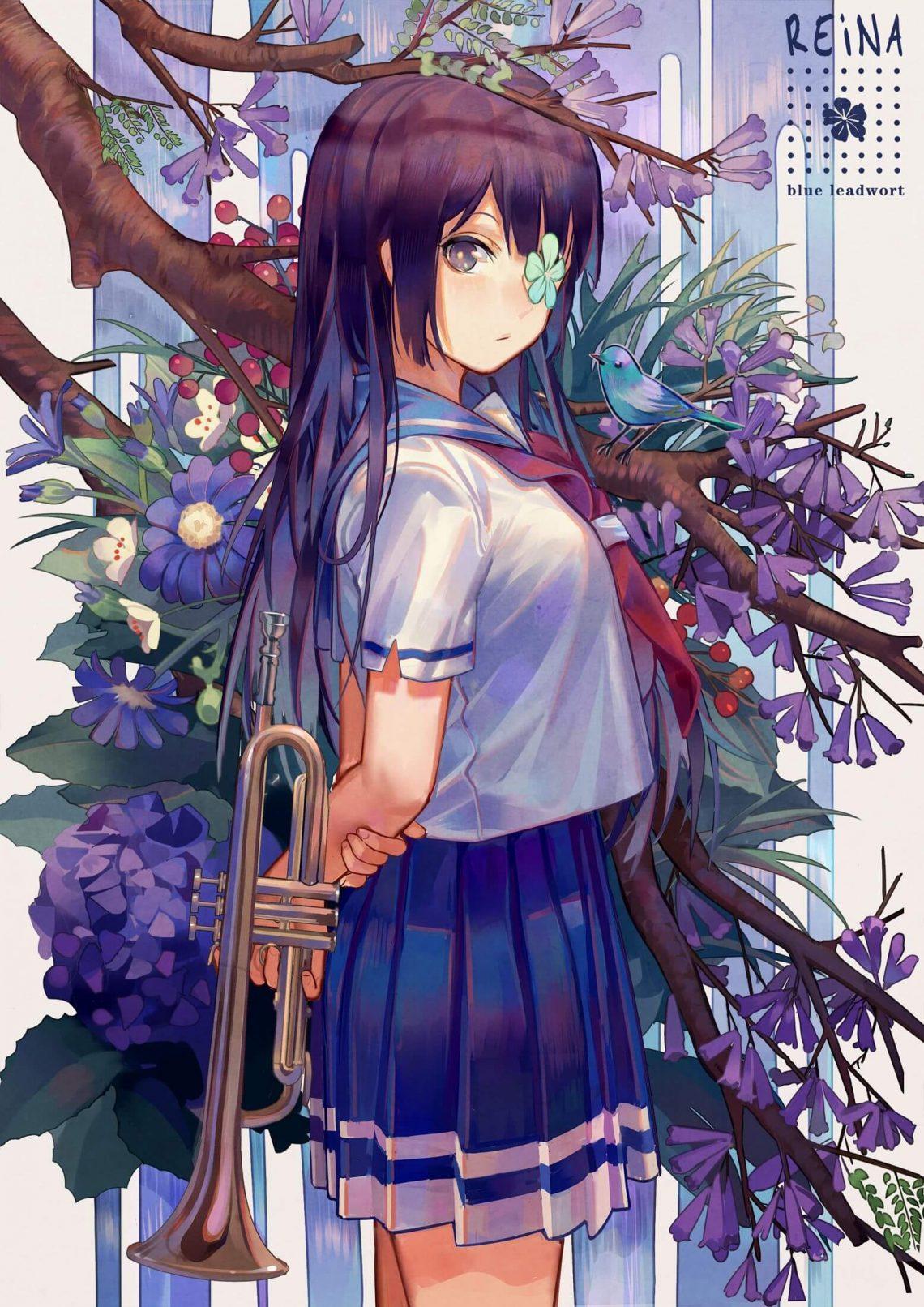 Anime nữ tóc tím dễ thương