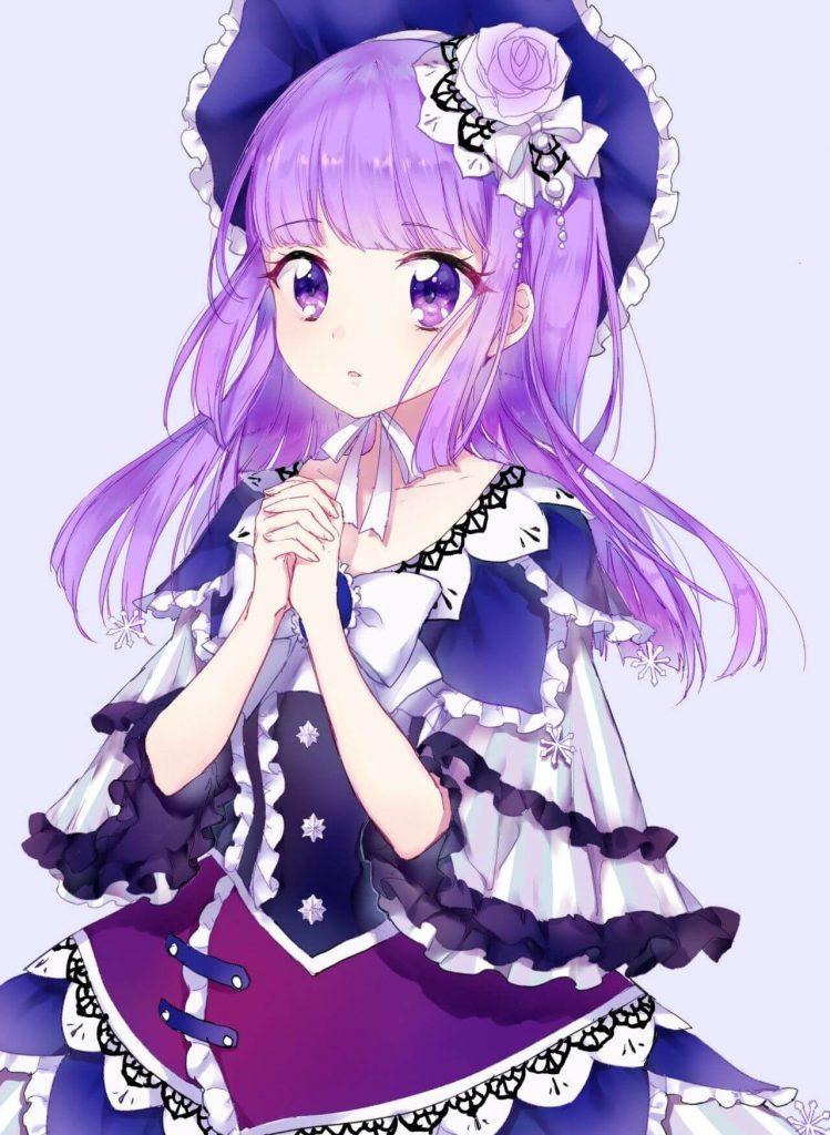 Anime nữ tóc tím mắt tím