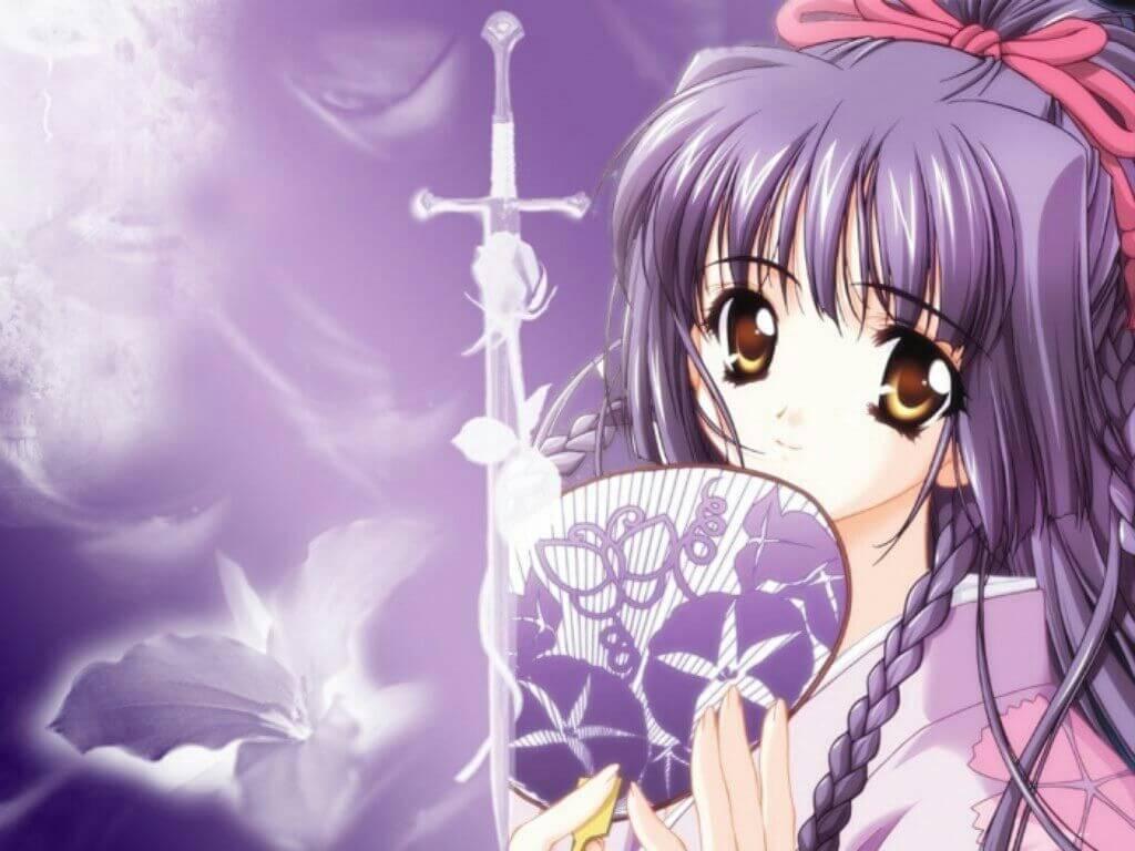 Anime nữ tóc tím thắt bím
