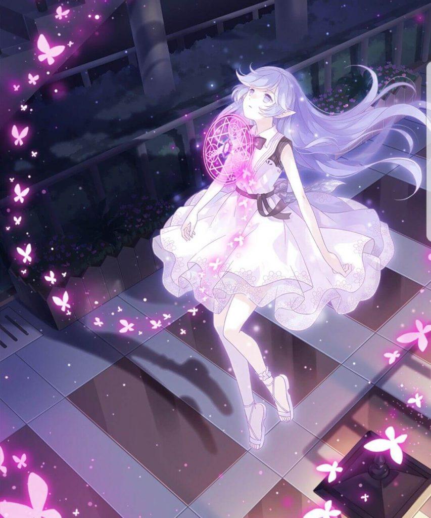 Anime nữ tóc tím xinh đẹp