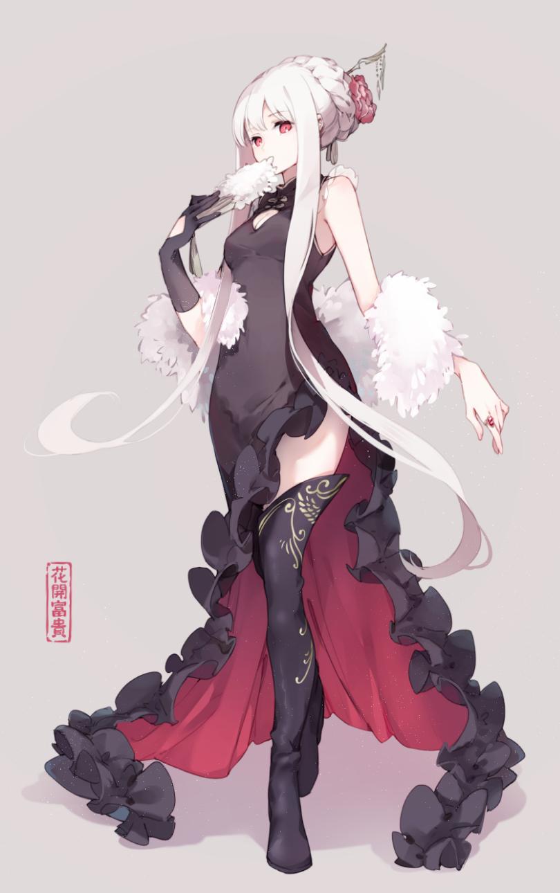 Anime nữ tóc trắng mắt đỏ