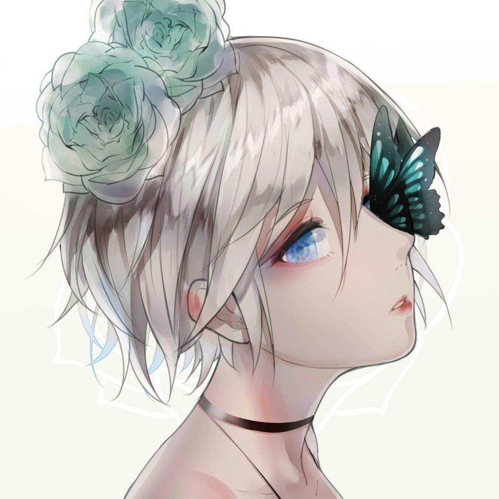 Anime tóc trắng buồn