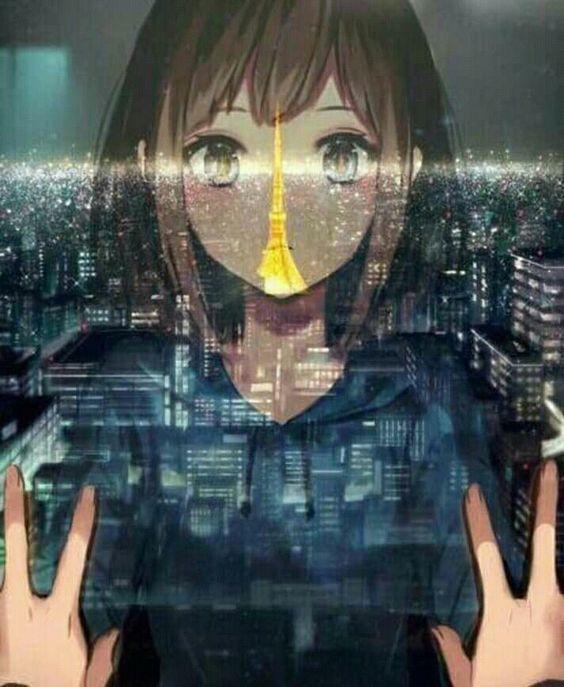 Ảnh 21: Khung cảnh thế giới trong màn đêm mờ ảo được quan sát góc nhìn từ tấm kính của một cô gái nhỏ