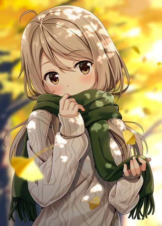 Ảnh 15: Bức ảnh Anime khung cảnh mùa thu với những chiếc lá bay tạo nên không gian lãng mạn, thơ mộng
