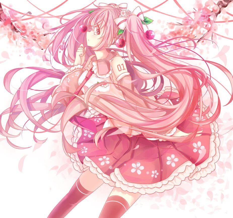 Hình Anime girl tóc hồng Kawaii