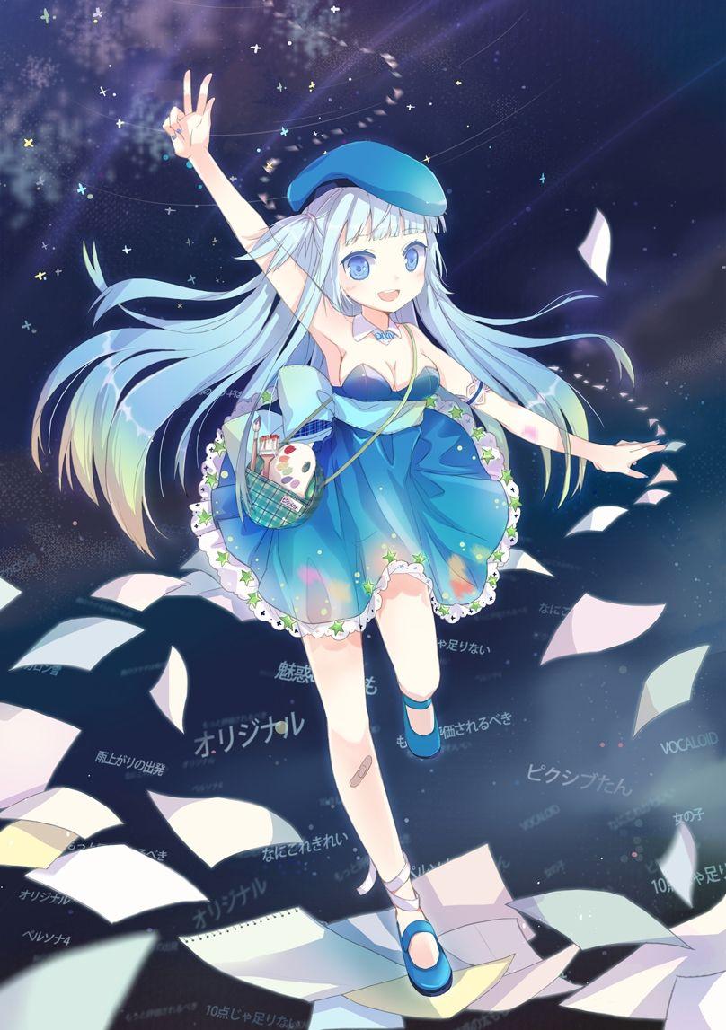 Hình Anime nữ tóc xanh dương