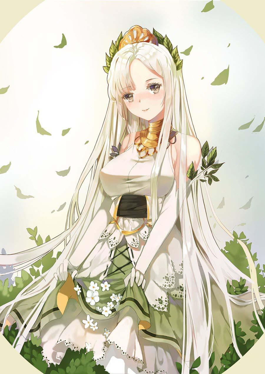Nhân vật nữ tóc trắng dài Anime