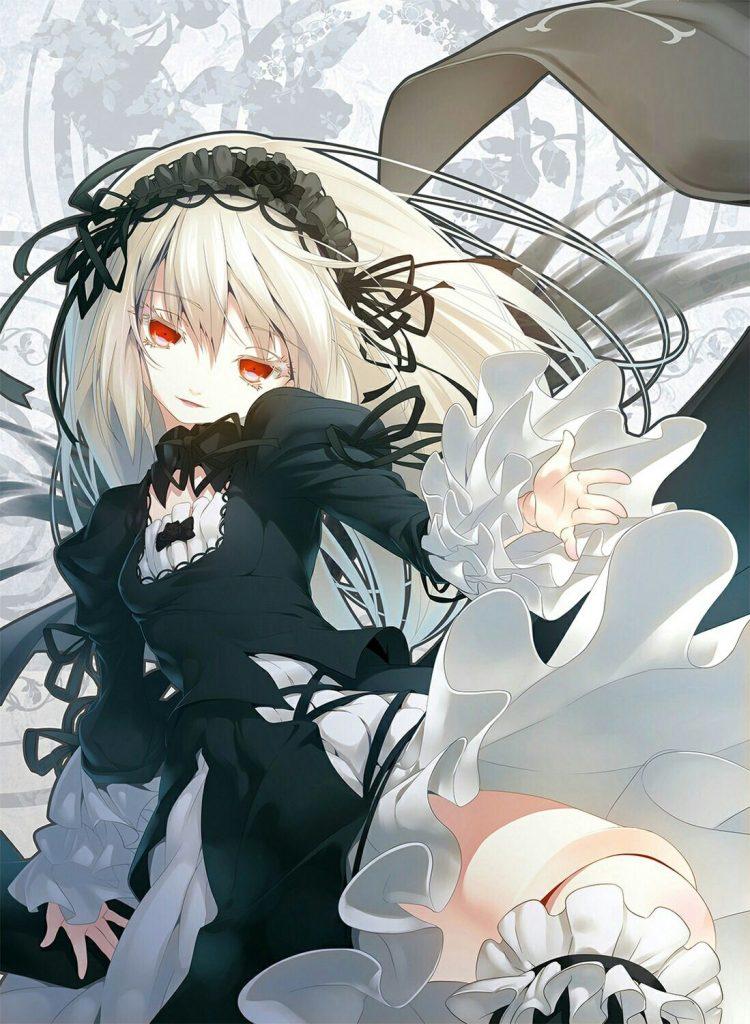 Nữ Anime tóc trắng mắt đỏ đẹp