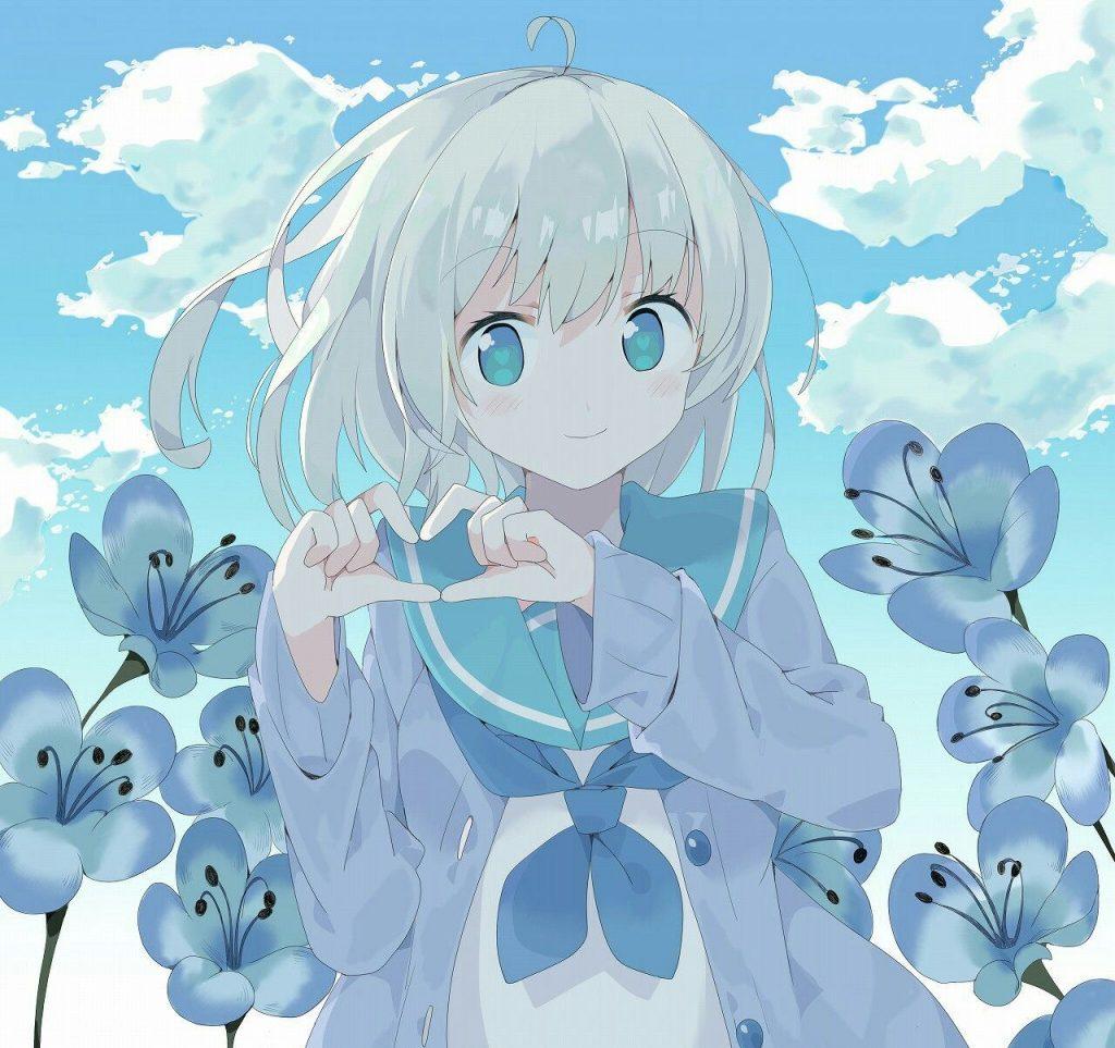 Nữ Anime tóc trắng mắt xanh